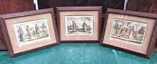 Set of 3 Framed & Matted Prints: Siamese, Japanese + Javanese Scenes.