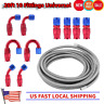 AN6 Stainless Steel Braided PTFE Fuel Hose Line 20ft 10 Fittings Universal US