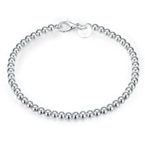 """925 Sterling Silver Bracelet Ball Bead 4mm Shiny 8""""  Uk Seller"""