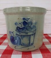 Vintage 1999 David Eldreth Pottery Salt-Glazed Crock w/Apple Motif. EXCELLENT