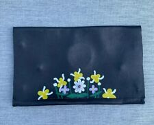 buttery black leather fold over clutch bag handpainted flowers mirror HEY GURL