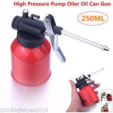 1x 250ml Auto Car High Pressure Pump Oiler Oil Can Feed Lubricants Gun Metal Red
