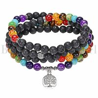 Tree of Life Essential Oil Diffuser Lava Stone Beaded Bracelet 7 Chakra Healing