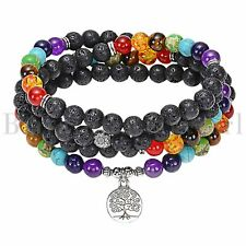 Tree of Life Essential Oil Diffuser Lava Stone Beaded Bracelet 7 Chakra Healing
