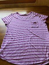 Faded Glory Misses LARGE 12 14 Pocket Shirt T-shirt Lavender/Purple Stripes