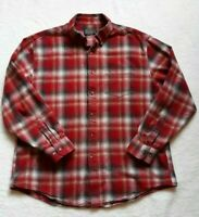PENDLETON Men's XL Plaid Flannel Button Up Long Sleeve Shirt Red/White Holiday