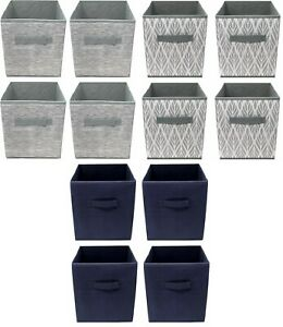 Foldable Storage Boxes, Set of 4, Collapsible Fabric Storage Cubes - 25x25x25 cm