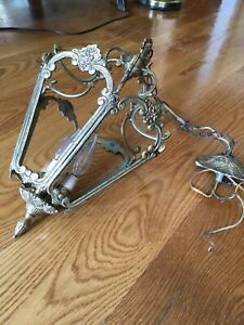 Vintage French Brass Lantern Chandelier w/ Glass Panels