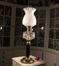 Jugendstil Petroleumlampe Tischlampe - Leuchte m. SCHWARZGLAS Säule u. MESSING
