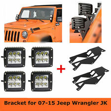 4X 24W CREE LED Light Cube Pods+ A-Pillar Mount Brackets for Jeep JK Wrangler SC