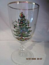 """SPODE CHRISTMAS TREE 7"""" Footed Stem Beverage Water Glass, 16 oz, Excellent!!"""