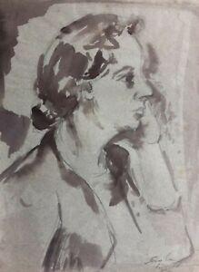 "JOHN H TAYLOR AUSTRALIAN INK WASH SKETCH ""PORTRAIT OF ARTIST'S WIFE EMME"" C 1970"