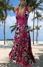 MONSOON* STUNNING 100% SILK PANELED HALTER NECK MAXI EVENING DRESS UK 18 VGC