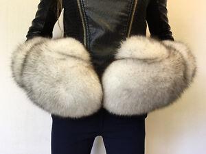 Giant Natural Fox Fox Fur Mittens Full Fur Winter Gloves Blue Fox White Fur