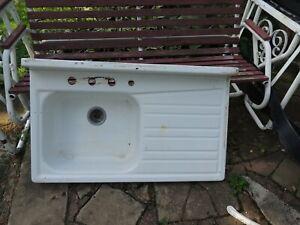 Vintage Steel White Porcelain Enamel Single Basin Single Drainboard Farm Sink