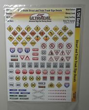 STREET & TRAIN SIGNS  1:24 1:25 ULTRACAL RACING DECALS CAR SLOT RC MODEL