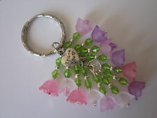 Keyring / Bag Charm - Bunch of Pink & Purple Flowers - Thank you Gift