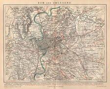 ROM und Umgegend Villa Borghese Vatikan  historische Landkarte 1886