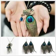 Womens Peacock Feather Pendant Necklace Sweater Chain Earrings Jewelry Set MP