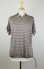 NWT BRUNELLO CUCINELLI Purple Linen Blend Striped Short Sleeve Sweater XXL $1450