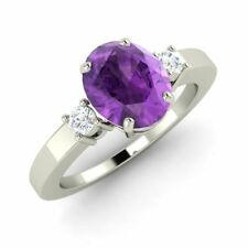 Three Stone Engagement Ring with 1.14 Cttw Amethyst in Solid 14k White Gold