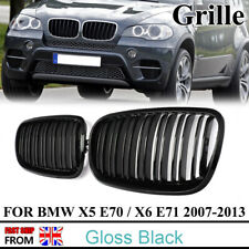 For 07-13 BMW E70 X5 E71 X6 Kidney Grille Grill Gloss Black Double Slat M Look
