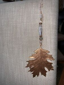 Copper Oak Leaf Sun Catcher Handcrafted - Large Copper Leaf with Crystals F1