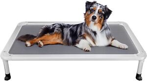 Veehoo Chew Proof Elevated Dog Bed - Cooling Raised Pet Cot - Silver Aluminium