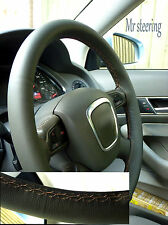 FOR AUDI A6 05-10 QUALITY GREY ITALIAN LEATHER STEERING WHEEL COVER BEIGE STITCH