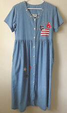 4th of July Short Sleeve Blue Denim Button Up Dress by Green Field Size Medium
