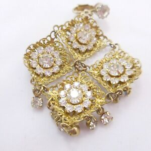 Vintage Drop Dangle Brilliant Rhinestone  Clip On Earrings 4 Linked Pieces