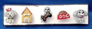 DOG FUN GREY Animal Push Pins Thumb Tacks - Handmade Decorative Office 5 pc Set