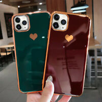 For iPhone 11 Pro Max XS XR X 7 8 Heart ShockProof Soft Plating TPU Case Cover