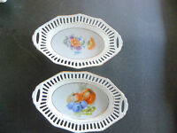 "BAVARIA SCHUMANN GERMANY RETICULATED RIM 2 HAND PAINTED DISHES ~ 7"" X 4 1/2"""