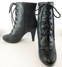 8.5 Fioni Black Vegan Leather Granny Witch Ankle Boots Heels Laces Zip Up EUC