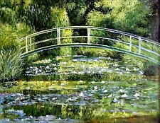 Stretched, Claude Monet Japanese Bridge Repro Hand Painted Oil Painting 36x48in