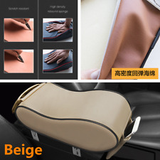 Beige Wear-resistant PU Leather Car Armrest Pad Arm Support Cushion Universal
