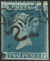 1841 SG14 2d BLUE PLATE 3 FINE USED 4 MARGINS MALTESE CROSS (DF)