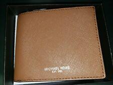 Michael Kors ANDY SLIM BILLFOLD Wallet Men's Brown Leather 86S9LANF5L $98 NEW