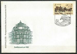 Germany (East) DDR GDR 1985 FDC SOZPHILEX Mailcoach Post Office Building 1881