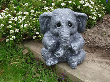 Steinfigur Elefanten Elefant anthrazit in groß
