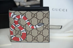Authentic Gucci GUCCISSIMA SNAKE PRINT CANVAS Leather Wallet Bifold Purse