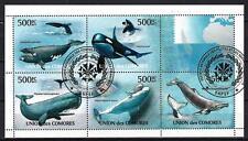Animaux Baleines Comores (208) série complète de 5 timbres oblitérés