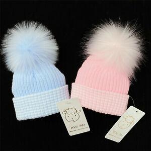 Gorgeous New Born Baby Boys Girls Faux Fur Pom Hat/Big Soft Fur Pom Perfect Gift