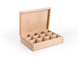 Teebox 12 Fächer Teekasten, Kiefernholz unbehandelt Decoupage