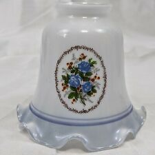 5 Vintage Ruffle Glass Lamp Light Shades White Blue Floral Roses Cottage Chic