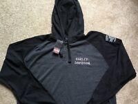 Harley Davidson hooded black / gray henley Shirt NWT  Men's Large