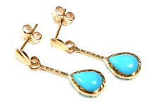9ct Gold Turquoise Teardrop Earrings Gift Boxed Made in UK