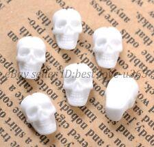 30pcs White Fashion Resin Flatback Carved Skull Beads 10X6MM