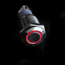 New 16mm Red 12V LED MOMENTARY Angel Eye Start Button Metal Switch Car Boat fu